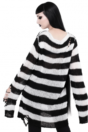 Custom order for a striped oversized sweater in black and white