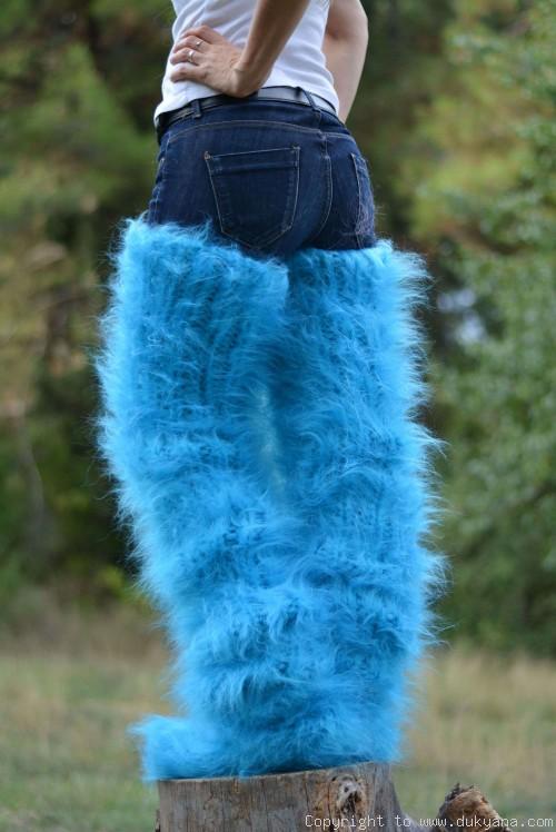 Brushed huge mohair socks hand knitted chunky leggings