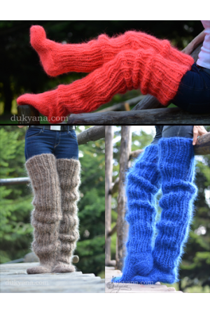 Huge mohair socks hand knitted chunky and warm leggings