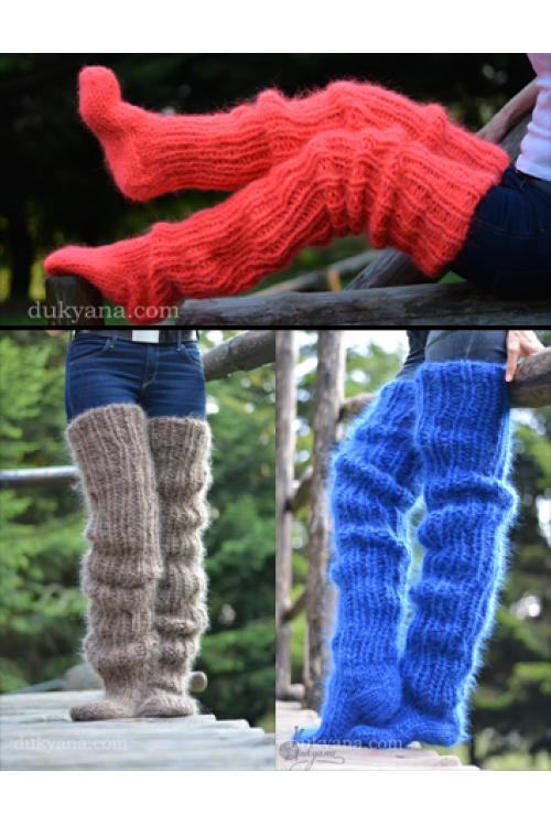 Huge mohair socks hand knitted chunky and warm leggings