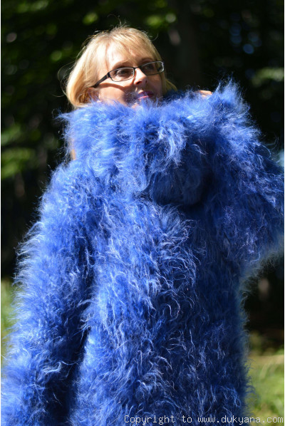 Super chunky and fuzzy huge mohair sweater in blue mix