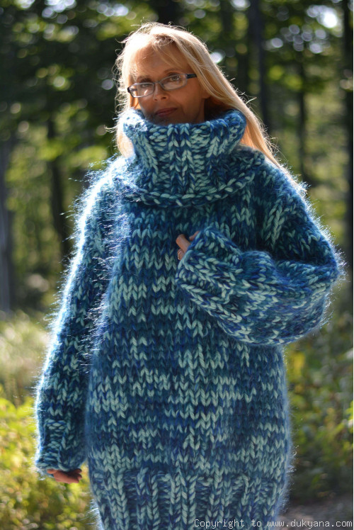 Chunky wool and mohair turtleneck sweater in aqua mix