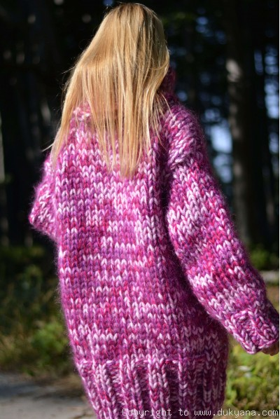 Chunky wool and mohair turtleneck sweater in violet