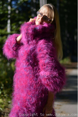 Oversized chunky mohair sweater in purple turquoise mix