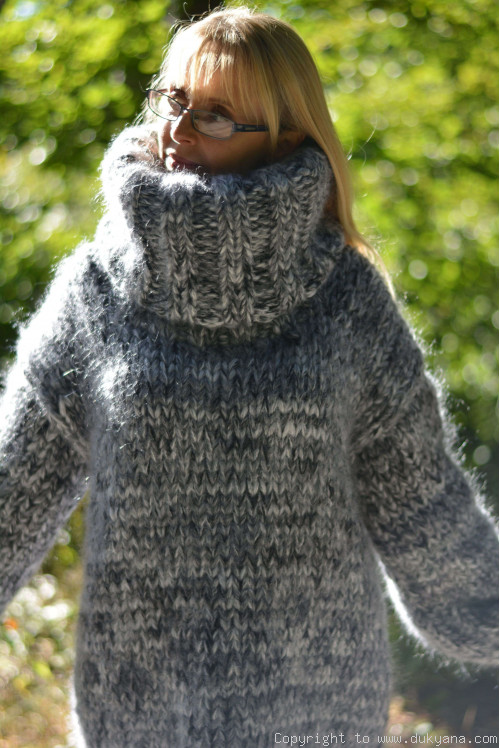 Super chunky wool and mohair sweater in white gray mix