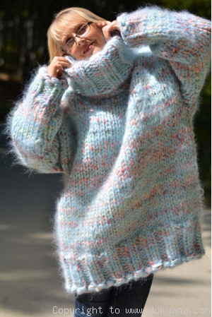 Chunky wool-mohair mix sweater in mint