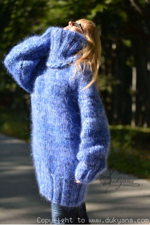 On request Hand knitted chunky unisex T-neck mohair sweater