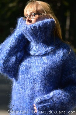 Hand knitted chunky unisex T-neck mohair sweater
