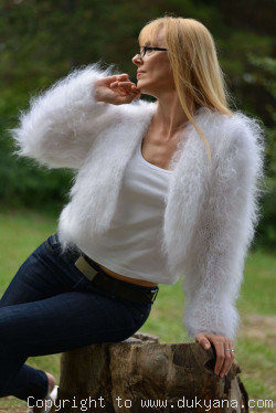 Hand knitted soft and silky mohair bolero in white