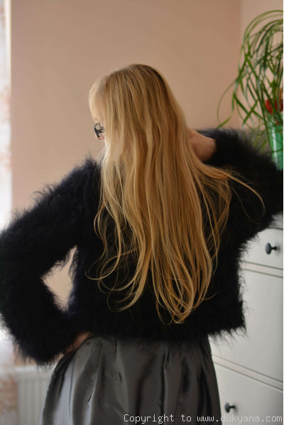 Hand knitted soft and silky mohair bolero in black