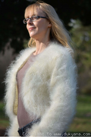 Hand knitted soft and silky mohair bolero in cream white