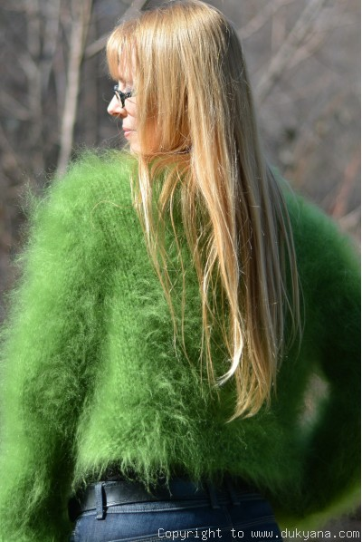 Hand knitted soft and silky mohair bolero in green