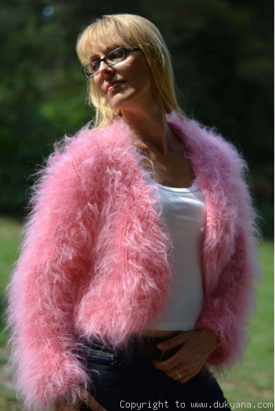 On request Fuzzy mohair bolero in pink