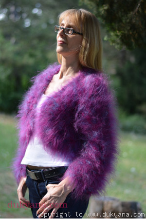 Fuzzy mohair bolero in purple mix