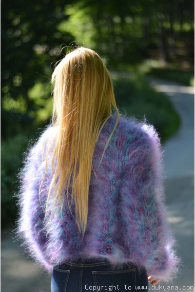 Fuzzy mohair bolero in blue-purple mix