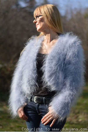 Hand knitted soft and silky mohair bolero in pale blue