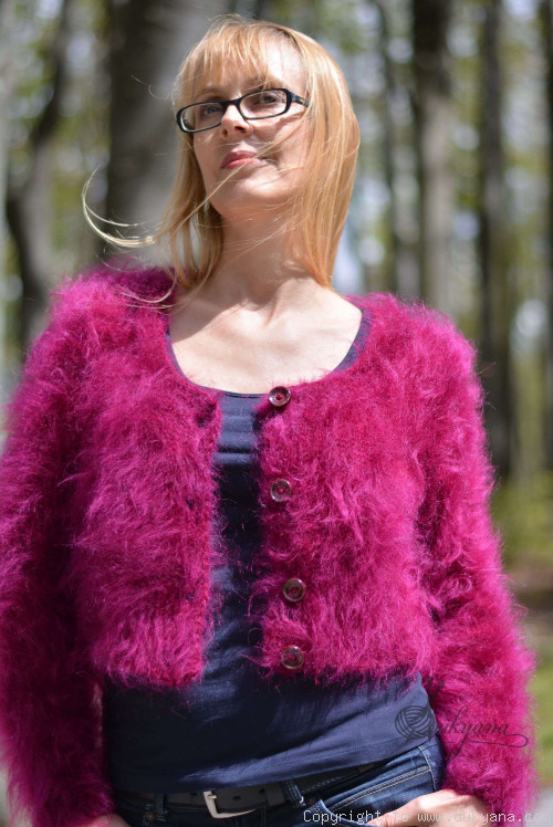 Knitted soft fuzzy mohair bolero in fuchsia On Request