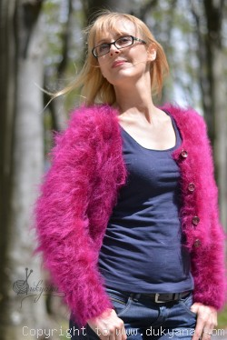 Hand knitted soft and silky mohair fine bolero in fuchsia