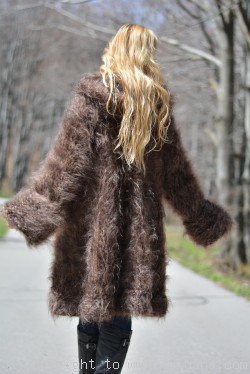 ON request Hand knitted chunky and fuzzy hooded mohair coat