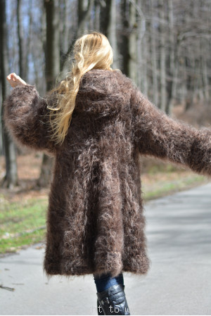 Hand knitted chunky and fuzzy hooded mohair coat