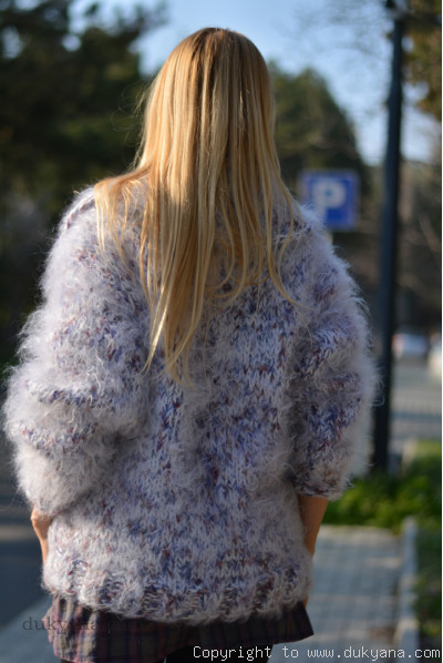 Mohair and wool mix chunky cardigan with collar in white