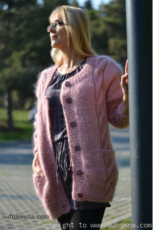 Classic mohair cardigan with cables in pink