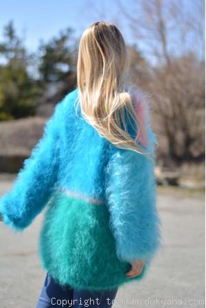 Multi-colour spring-mood fuzzy mohair cardigan