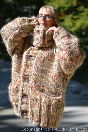 Super chunky handknit collared cardigan in autumn shades