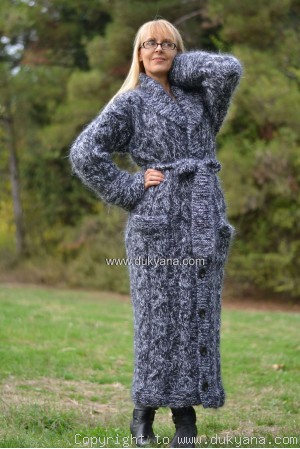 Cable mohair cardigan in black and white