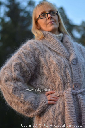 Long cable mohair cardigan with a shawl collar