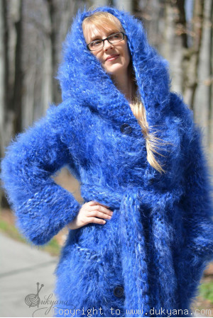Chunky and thick long mohair cardigan in blue