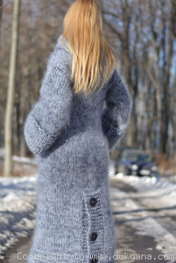 Hand knitted chunky mohair cardigan