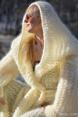 Hooded slouchy mohair shrug hand knitted in Ivory