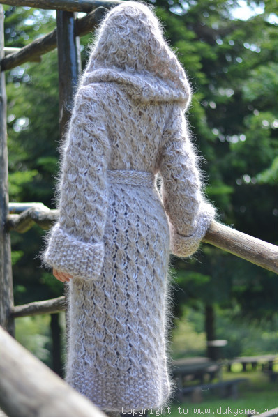 Hand knitted chunky mohair hooded cardigan