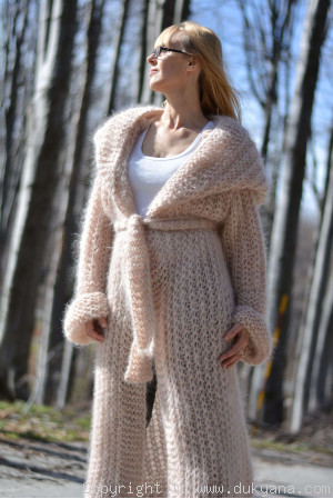 Hooded slouchy mohair shrug hand knitted in powder beige