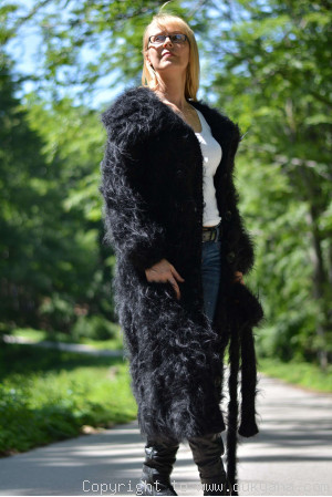 Knitted long fuzzy collared mohair cardigan in black