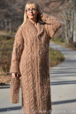 Handmade cabled unisex mohair cardigan in camel beige