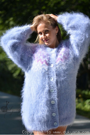 Icelandic mohair cardigan hand knitted in blue