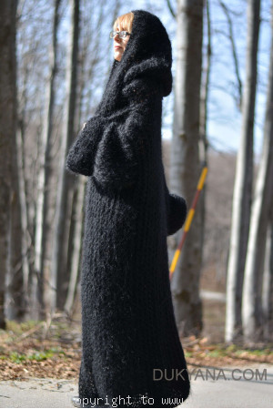 Hooded slouchy mohair shrug hand knitted in black