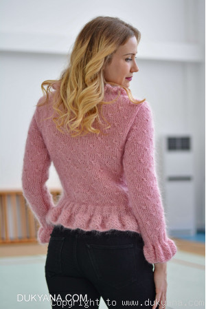 Ruffled cropped mohair cardigan in pink