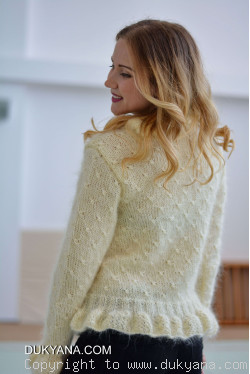 Ruffled cropped mohair cardigan in ivory