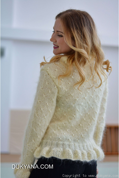 Ruffled Cropped Mohair Cardigan In Ivory Ca72