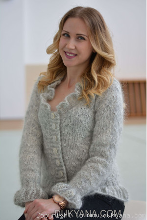 Ruffled cropped mohair cardigan in heather gray