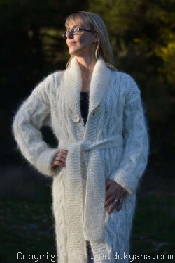 Hand knitted soft and silky cable mohair shawl collar cardigan