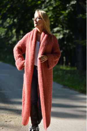 Lightweight open-front mohair cardigan with lavish shawl collar