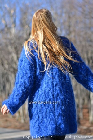 Cable mohair cardigan in custom colour