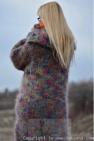 Chunky mohair cardigan in mixed colours