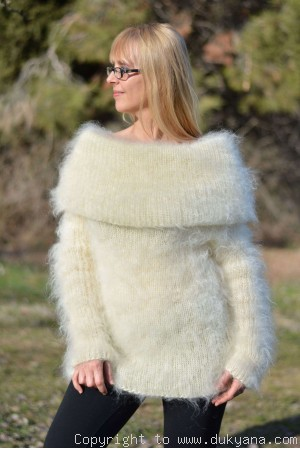Fuzzy and soft cowlneck mohair sweater in Ivory