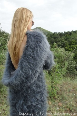 On request Hand knitted soft and silky huge cowlneck mohair sweater