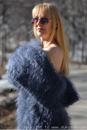 Hand knitted soft and silky huge cowlneck mohair sweater
